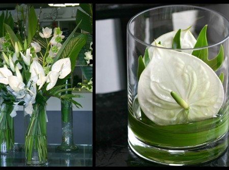 white and green arrangements