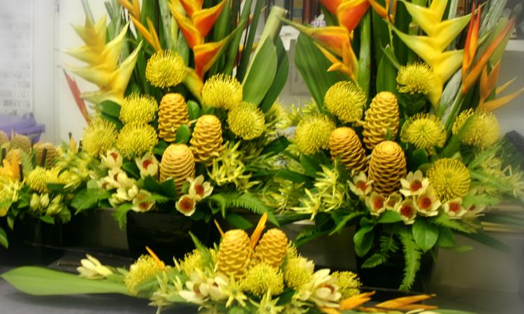 yellow floral arrangements