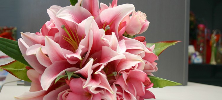 Pink lily and Frangipani Bouquet