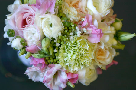 close up of bridesmaid's bouquet