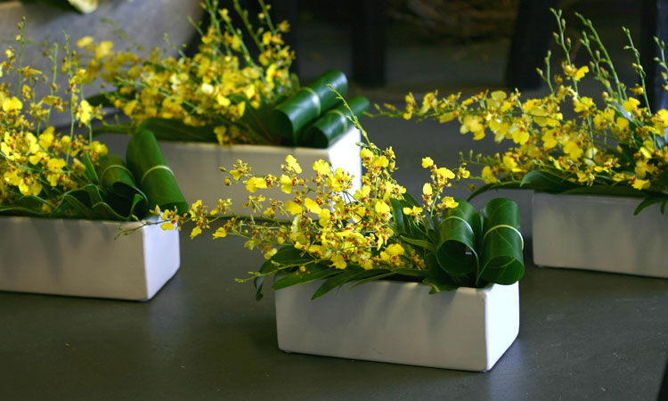 modern yellow table arrangement