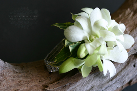 how to make a white orchid wrist corsage