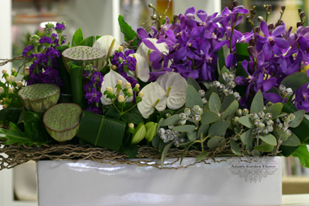 gold coast arrangement delivered purple white corporate