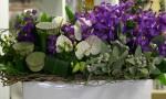 purple white green flower arrangement delivered gold coast