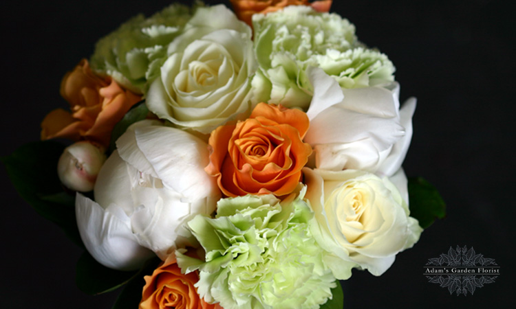 ivory and apricot wedding bouquet