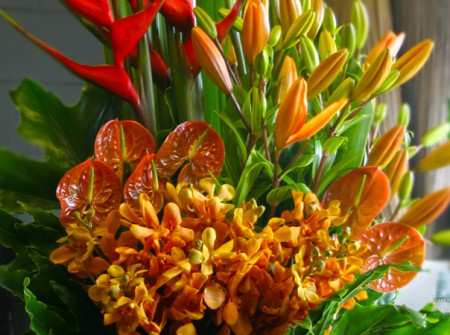 close-up floral arrangement broadbeach corporate flowers