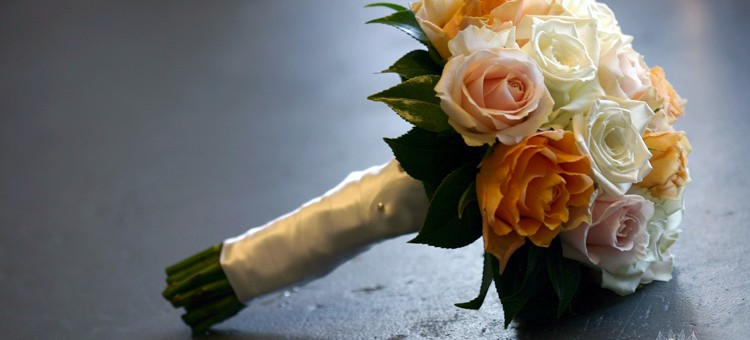 rose wedding posy apricot pink white