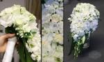 ivory white teardrop bouquet for bride
