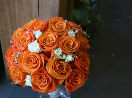 southport brides bouquet orange roses