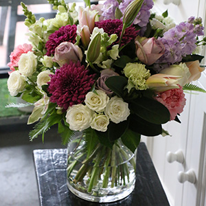 full bouquet in vase
