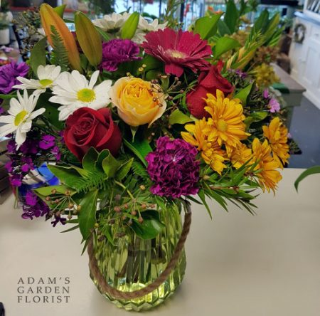 bouquet in a vase, bright mixed cottage florals. Gold Coast delivery