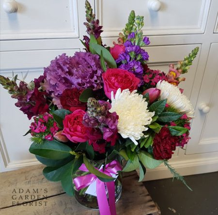 bouquet in a vase, jewel tones. Gold Coast delivery