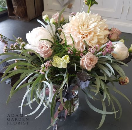 bouquet in a vase, soft and pretty. Gold Coast delivery