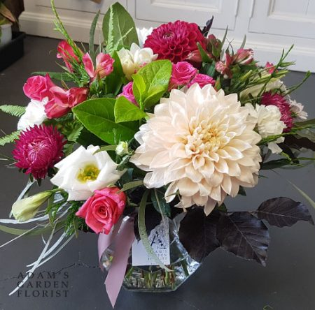 bouquet in a vase, pinks and creams. Gold Coast delivery