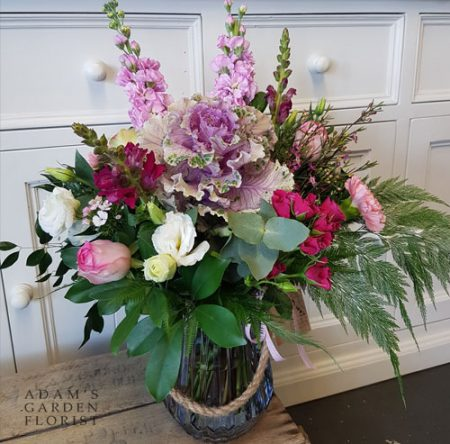 bouquet in a vase, grey and pink pretty cottage florals. Gold Coast delivery