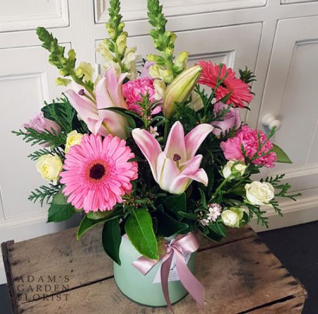 bouquet in a vase, pink tones. Gold Coast delivery