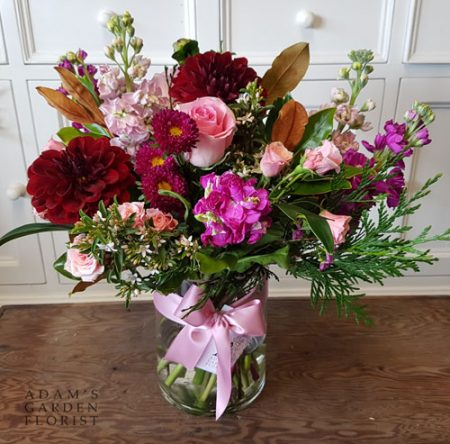 bouquet in a vase, pink and red blooms. Gold Coast delivery
