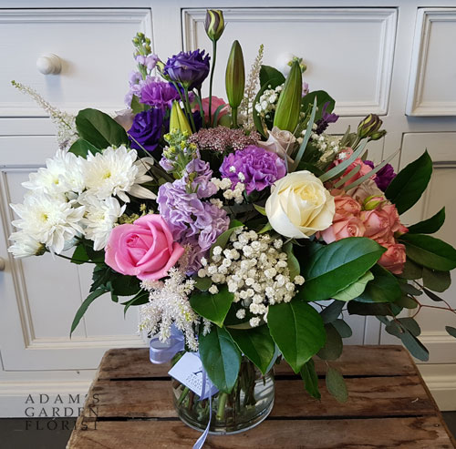 bouquet in a vase, soft pretty florals. Gold Coast delivery