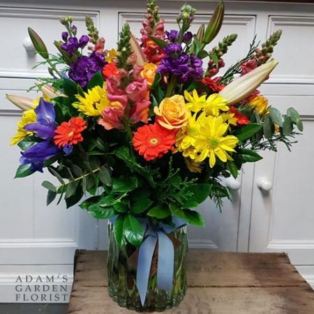 bouquet in a vase, large and bright florals. Gold Coast delivery