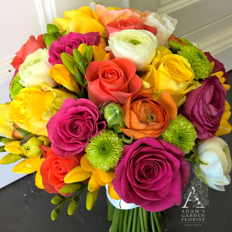 vibrant bright mixed bridal bouquet