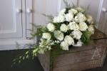 white rose teardrop bouquet