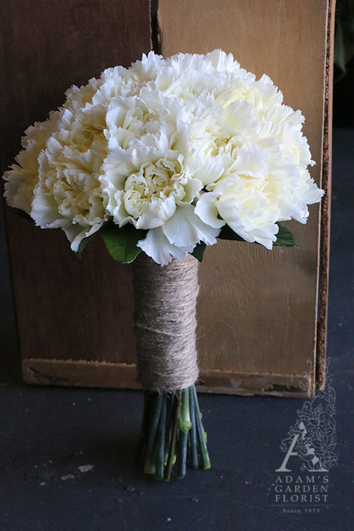 White carnation wedding adam s garden florist
