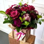 floral arrangement in hessian bag