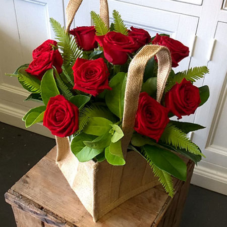 roses hessian bag gold coast delivery florist