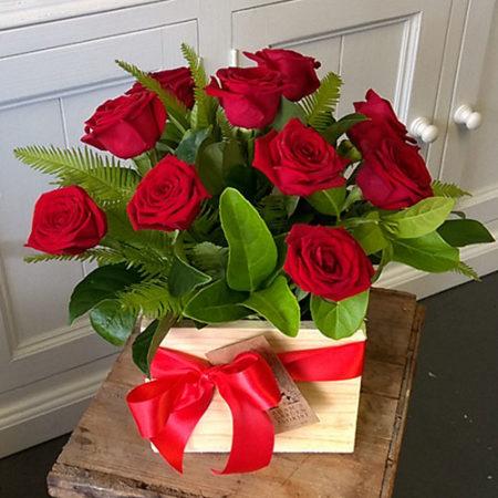 red rose arrangement wooden box valentine