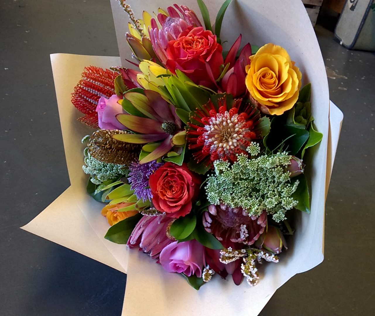 bright mixed seasonal flower bouquet gold coast delivery