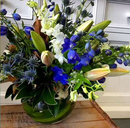fishbowl blue and white flowers delivered