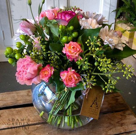 fishbowl floral arrangement pink gold coast