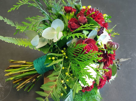 wedding bouquet red and green Gold Coast