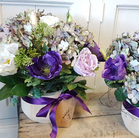 artificial hydrangeas, lisianthus and anemones