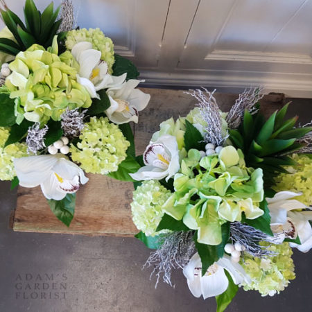 Silk floral arrangement gift white and green