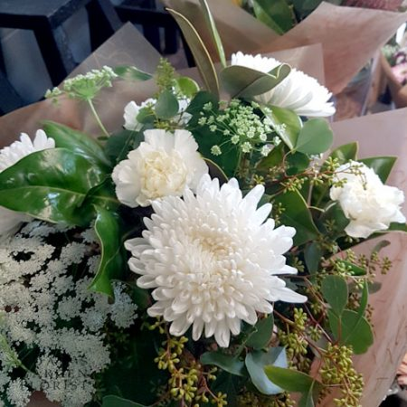 bouquet white and green sympathy flowers Gold Coast