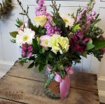bouquet in a vase pretty pastel flowers for Ashmore delivery