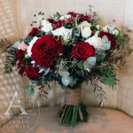 deep red and white bridal bouquet Gold Coast
