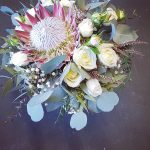 king protea with cottage roses and polyanthemos wedding flowers gold coast